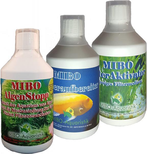MIBO SparSet Aquarium Pflege 3x 500ml +Algenradierer -Wasseraufbereiter AlgenStopp Filteraktivator