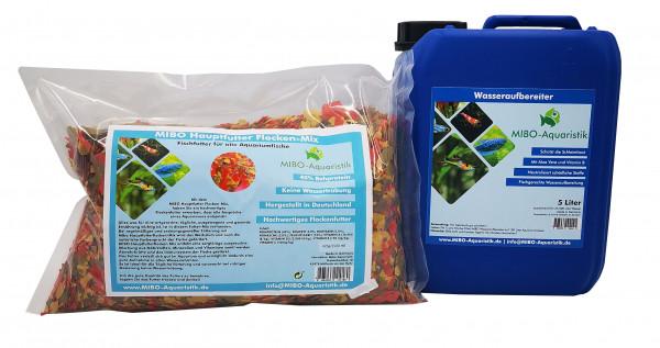 MIBO Wasseraufbereiter 5 Liter + Flockenfutter 2,5 Liter / 425g Spar-Set
