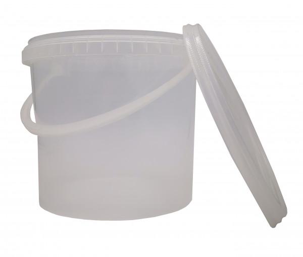 MIBO Hochwertiger 5Liter Kunststoffeimer mit Deckel (transparent) - Lebensmittelecht