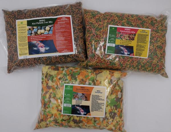 MIBO Teichfutter Set Angebot 3x5000ml - Teichsticks-Mix, Koi Peletts 3-er Mix & Gartenteich-Mix
